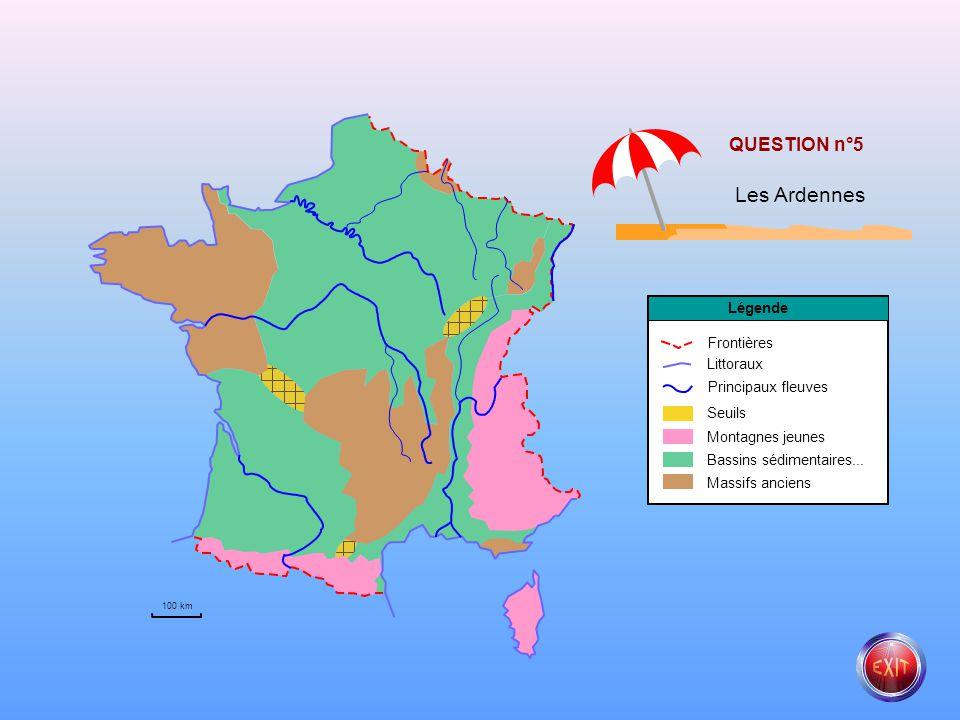 Principaux fleuves Littoraux Frontières Légende Seuils Montagnes jeunes Bassins sédimentaires... Massifs anciens QUESTION n°4 Le Rhin 100 km
