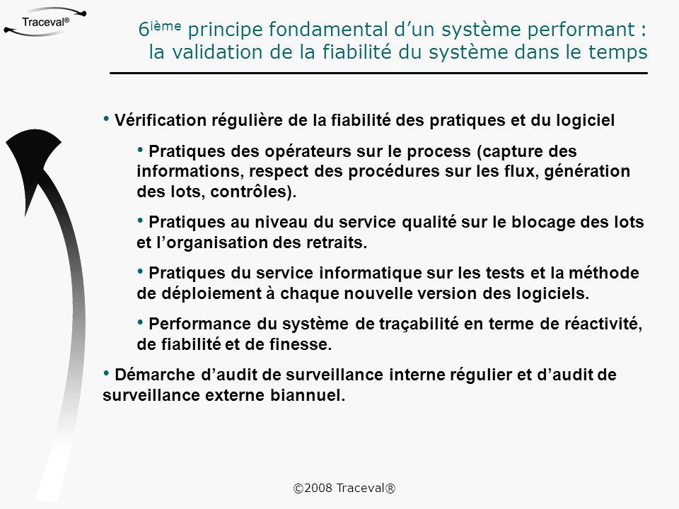 Vérification régulière de la fiabilité des pratiques et du logiciel Pratiques des opérateurs sur le process (capture des informations, respect des pro