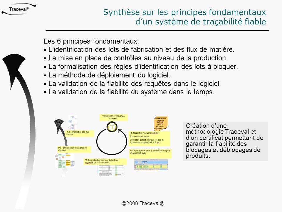 Synthèse sur les principes fondamentaux d'un système de traçabilité fiable Les 6 principes fondamentaux:  L'identification des lots de fabrication et