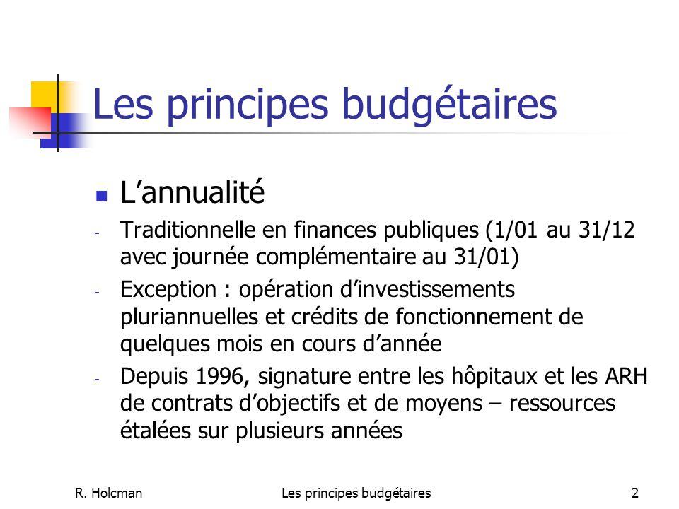 R. HolcmanLes principes budgétaires2 L'annualité - Traditionnelle en finances publiques (1/01 au 31/12 avec journée complémentaire au 31/01) - Excepti