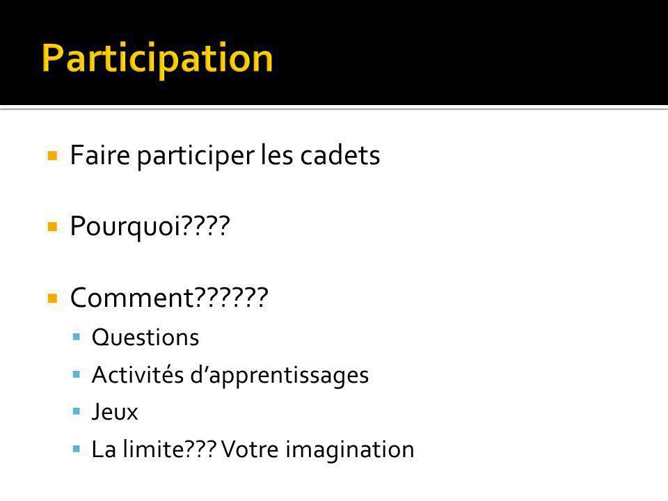  Faire participer les cadets  Pourquoi????  Comment??????  Questions  Activités d'apprentissages  Jeux  La limite??? Votre imagination