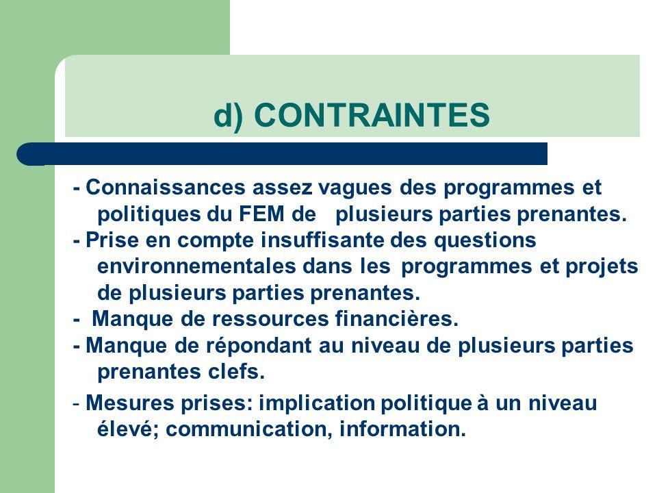 - Connaissances assez vagues des programmes et politiques du FEM deplusieurs parties prenantes.