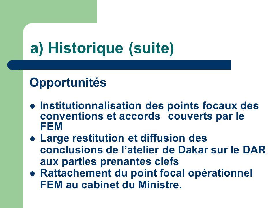 Opportunités Institutionnalisation des points focaux des conventions et accordscouverts par le FEM Large restitution etdiffusion des conclusions de l'atelier de Dakar sur le DAR aux parties prenantes clefs Rattachement du point focal opérationnel FEM au cabinet du Ministre.