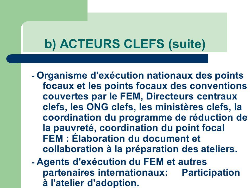b) ACTEURS CLEFS (suite) - Organisme d exécution nationaux des points focaux et les points focaux des conventions couvertes par le FEM, Directeurs centraux clefs, les ONG clefs, les ministères clefs, la coordination du programme de réduction de la pauvreté, coordination du point focal FEM : Élaboration du document et collaboration à la préparation des ateliers.