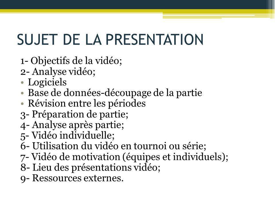 SUJET DE LA PRESENTATION 1- Objectifs de la vidéo; 2- Analyse vidéo; Logiciels Base de données-découpage de la partie Révision entre les périodes 3- P