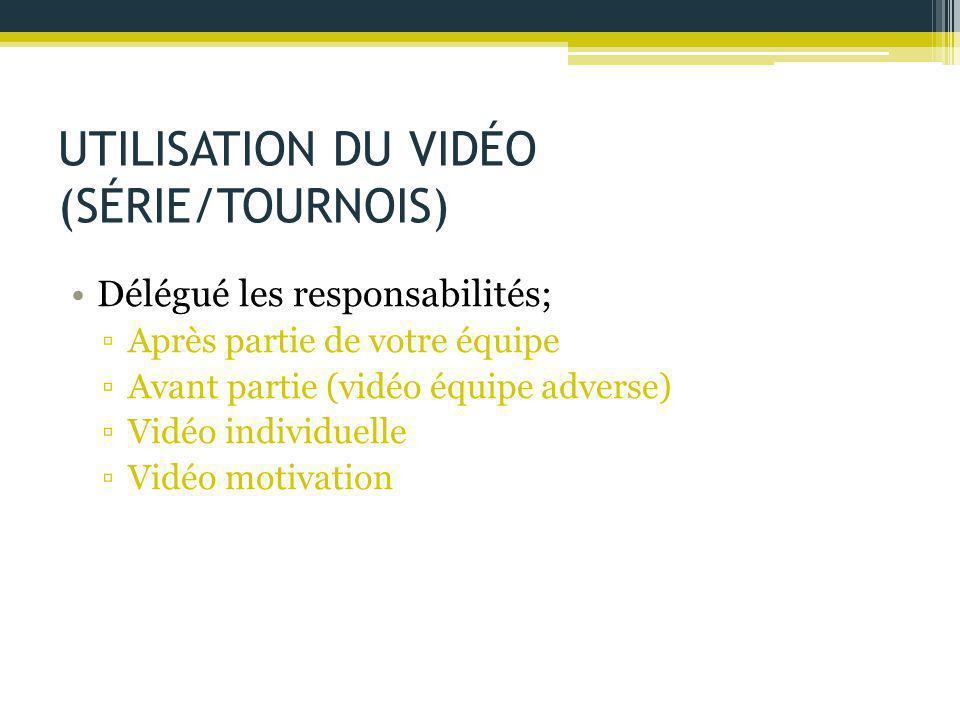 UTILISATION DU VIDÉO (SÉRIE/TOURNOIS) Délégué les responsabilités; ▫Après partie de votre équipe ▫Avant partie (vidéo équipe adverse) ▫Vidéo individue