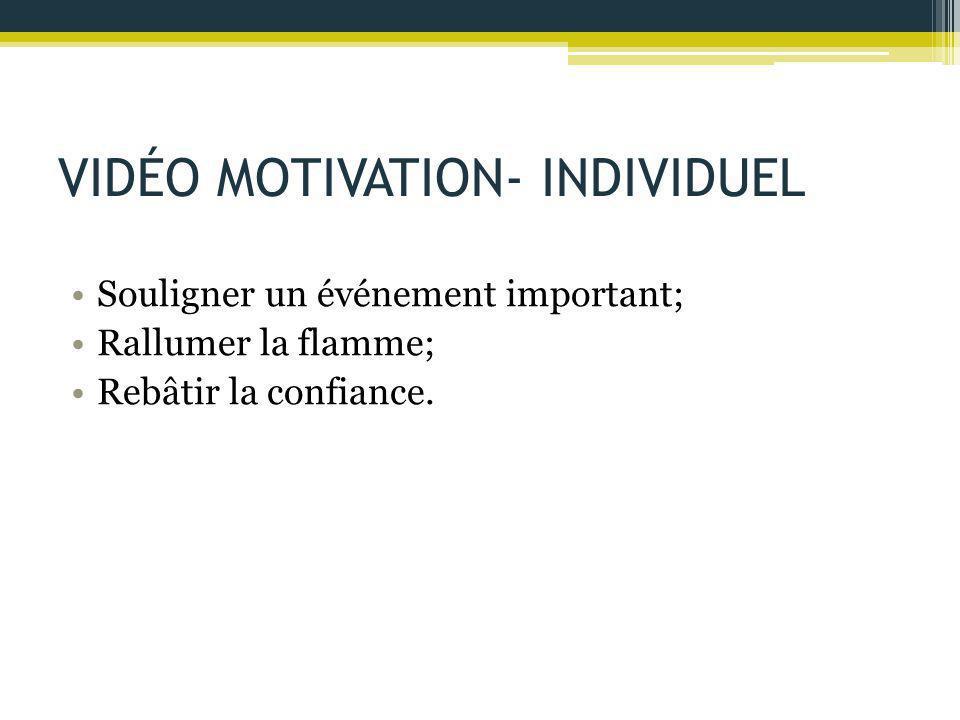 VIDÉO MOTIVATION- INDIVIDUEL Souligner un événement important; Rallumer la flamme; Rebâtir la confiance.