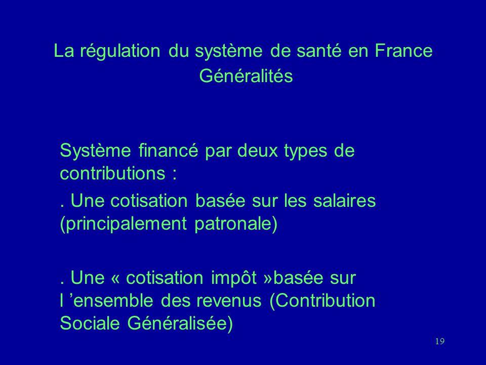 19 La régulation du système de santé en France Généralités Système financé par deux types de contributions :.