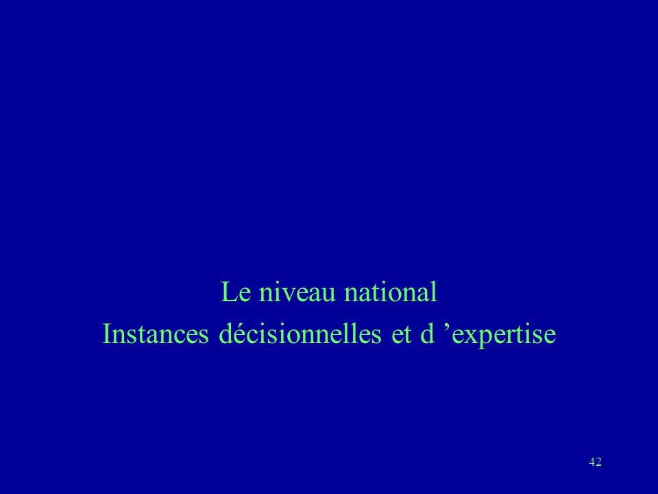 42 Le niveau national Instances décisionnelles et d 'expertise