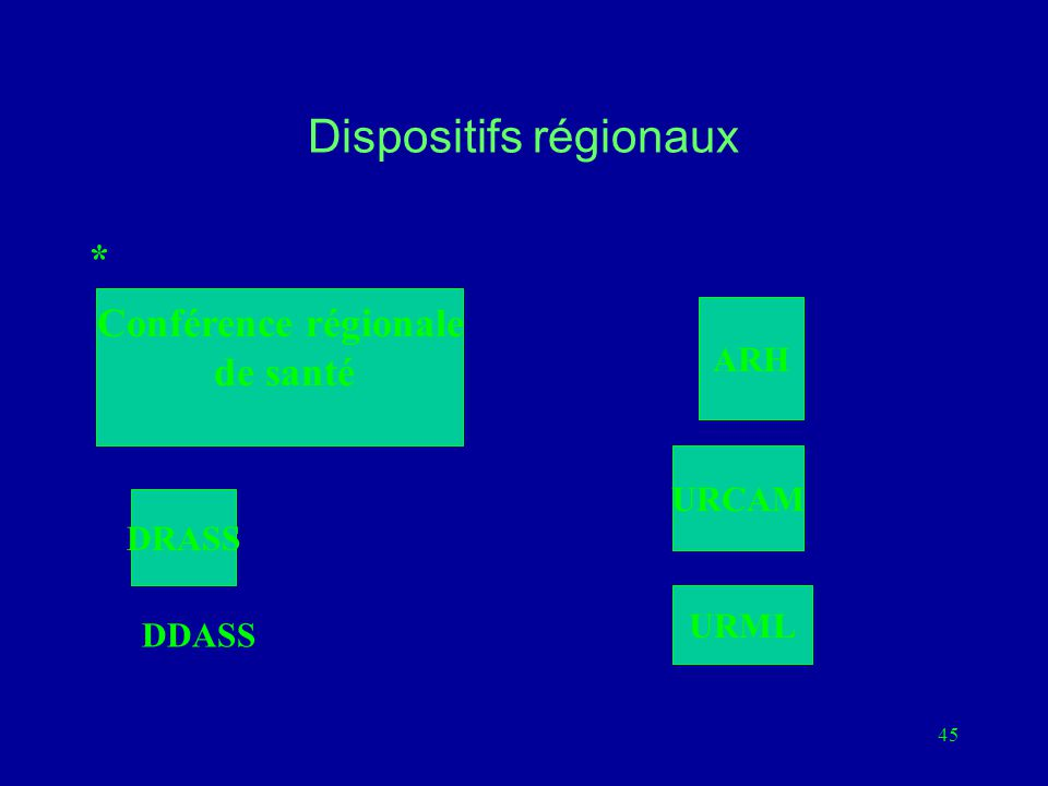45 Dispositifs régionaux Conférence régionale de santé ARH DRASS URCAM URML * DDASS