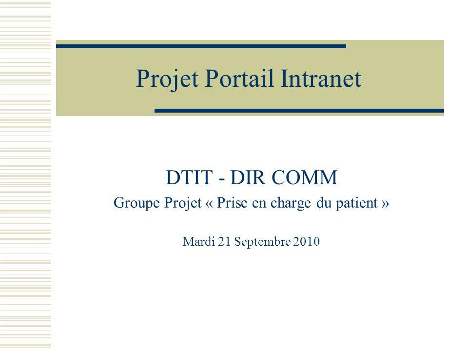 Projet Portail Intranet DTIT - DIR COMM Groupe Projet « Prise en charge du patient » Mardi 21 Septembre 2010