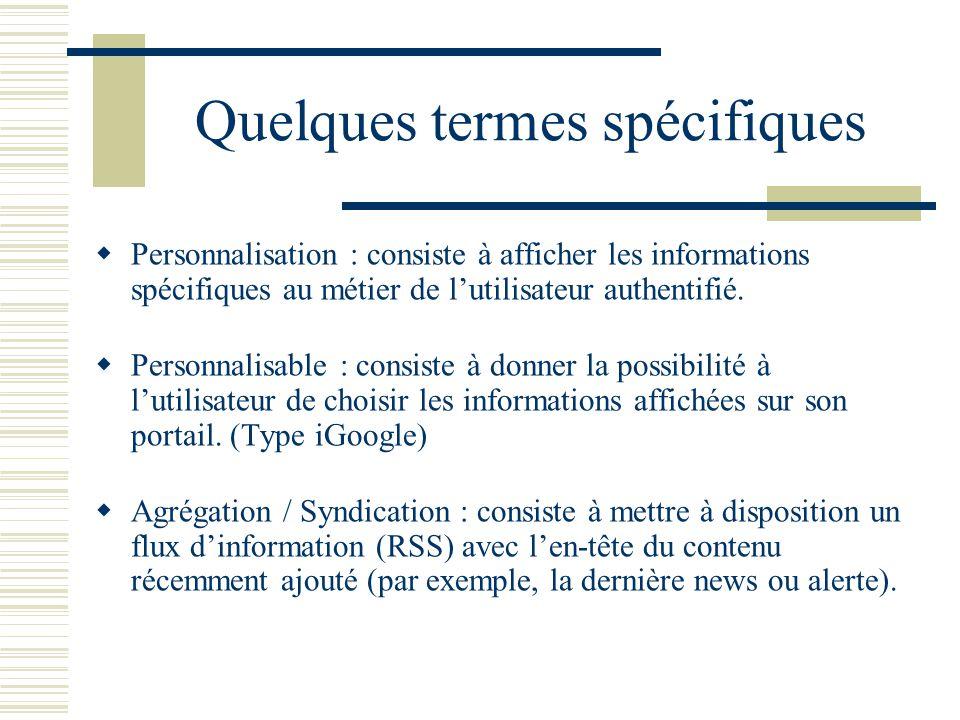 Quelques termes spécifiques  Personnalisation : consiste à afficher les informations spécifiques au métier de l'utilisateur authentifié.  Personnali