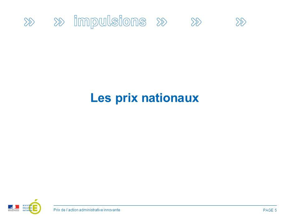 PAGE 5 Les prix nationaux Prix de l'action administrative innovante