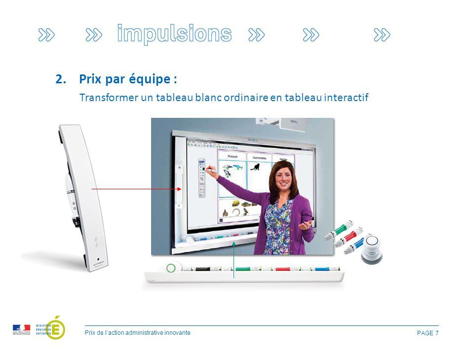 PAGE 7 2.Prix par équipe : Prix de l'action administrative innovante Transformer un tableau blanc ordinaire en tableau interactif