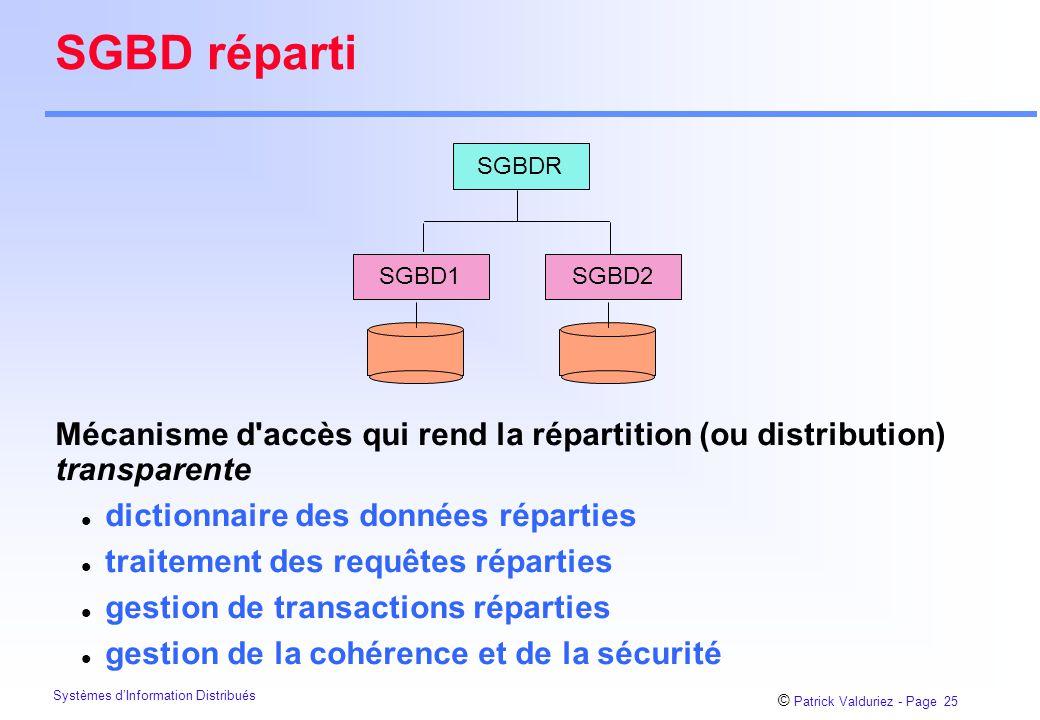 © Patrick Valduriez - Page 25 Systèmes d'Information Distribués SGBD réparti SGBDR SGBD1SGBD2 Mécanisme d accès qui rend la répartition (ou distribution) transparente l dictionnaire des données réparties l traitement des requêtes réparties l gestion de transactions réparties l gestion de la cohérence et de la sécurité