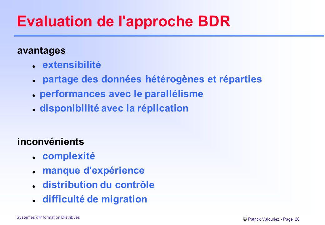 © Patrick Valduriez - Page 26 Systèmes d'Information Distribués Evaluation de l approche BDR avantages l extensibilité l partage des données hétérogènes et réparties l performances avec le parallélisme l disponibilité avec la réplication inconvénients l complexité l manque d expérience l distribution du contrôle l difficulté de migration