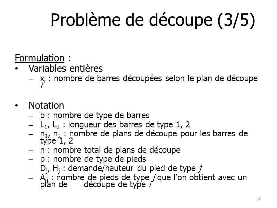 3 Problème de découpe (3/5) Formulation : Variables entières – x i : nombre de barres découpées selon le plan de découpe i Notation – b : nombre de type de barres – L 1, L 2 : longueur des barres de type 1, 2 – n 1, n 2 : nombre de plans de découpe pour les barres de type 1, 2 – n : nombre total de plans de découpe – p : nombre de type de pieds – D j, H j : demande/hauteur du pied de type j – A ij : nombre de pieds de type j que l'on obtient avec un plan de découpe de type i