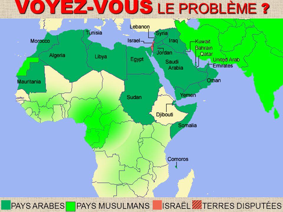 ISRAËLTERRES DISPUTÉESPAYS ARABES PAYS MUSULMANS VOYEZ-VOUS LE PROBLÈME ?