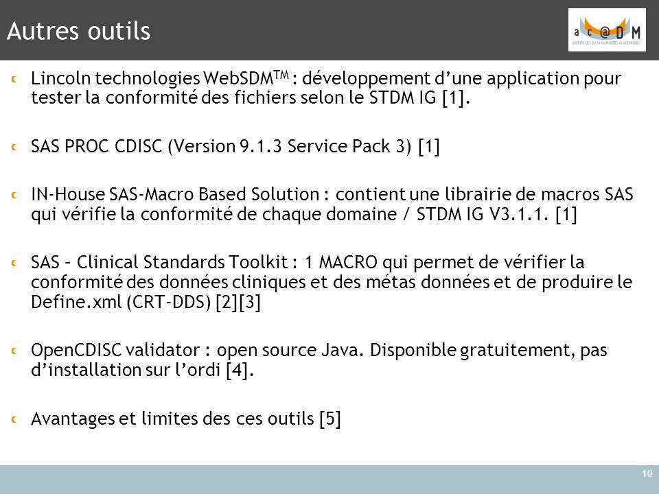 Autres outils 10 Lincoln technologies WebSDM TM : développement d'une application pour tester la conformité des fichiers selon le STDM IG [1]. SAS PRO