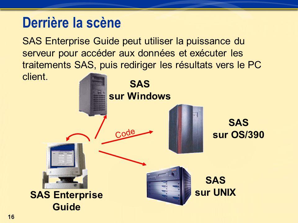 16 SAS Enterprise Guide peut utiliser la puissance du serveur pour accéder aux données et exécuter les traitements SAS, puis rediriger les résultats vers le PC client.