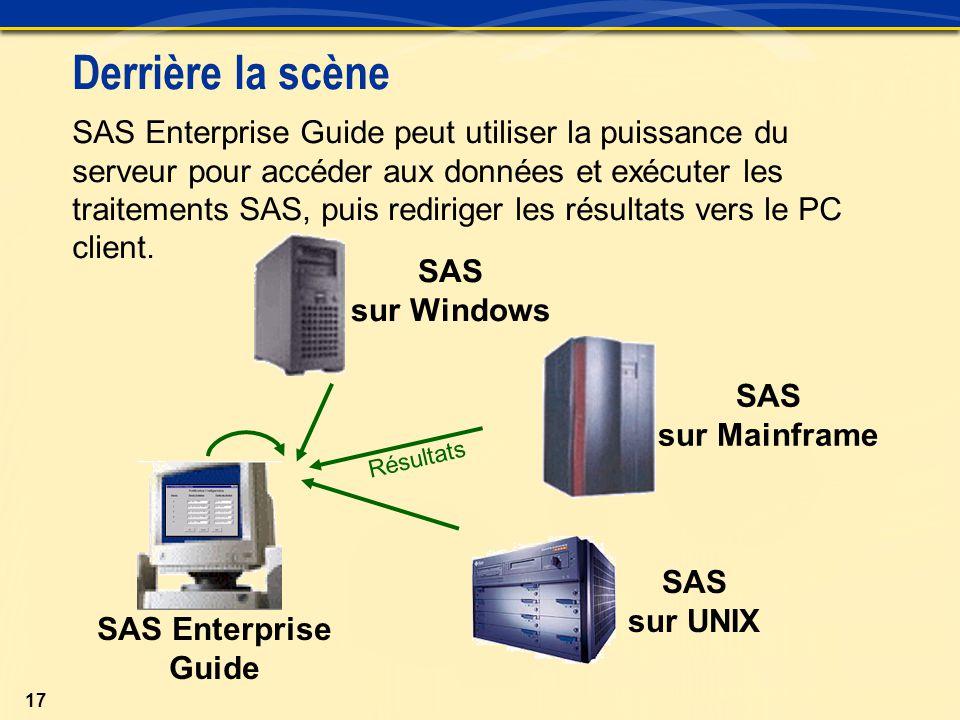 17 SAS Enterprise Guide peut utiliser la puissance du serveur pour accéder aux données et exécuter les traitements SAS, puis rediriger les résultats vers le PC client.