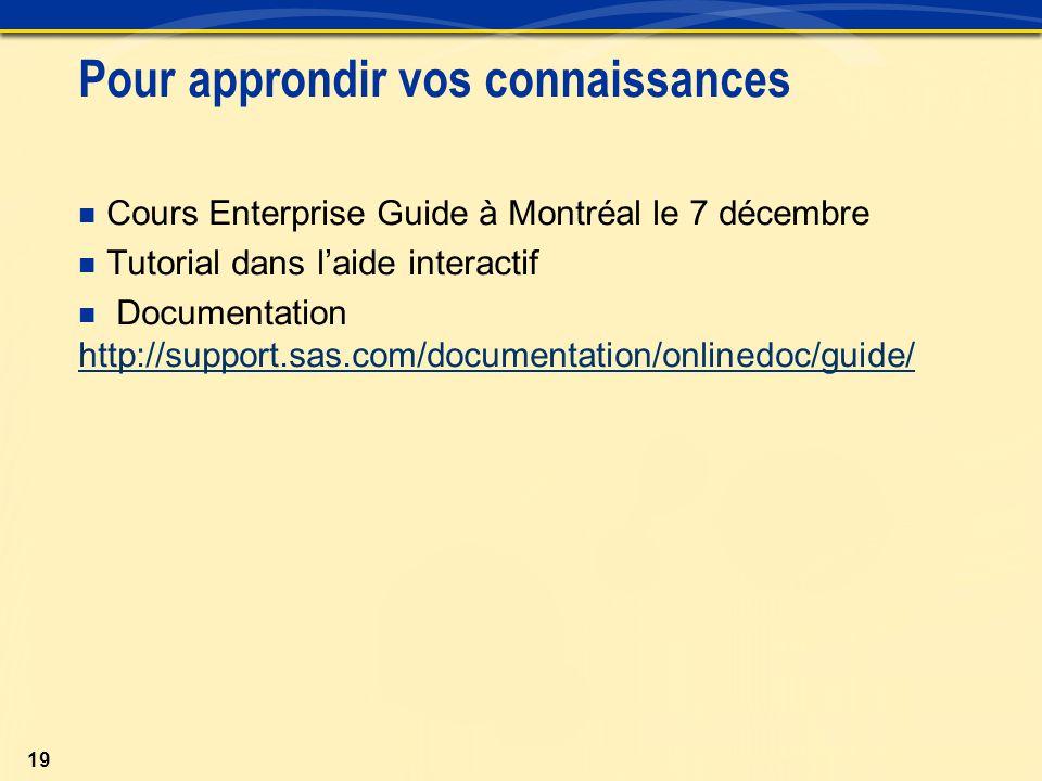 19 Pour approndir vos connaissances Cours Enterprise Guide à Montréal le 7 décembre Tutorial dans l'aide interactif Documentation http://support.sas.com/documentation/onlinedoc/guide/ http://support.sas.com/documentation/onlinedoc/guide/