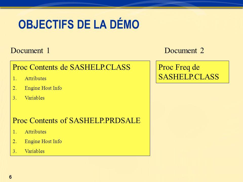 6 Document 1 Document 2 OBJECTIFS DE LA DÉMO Proc Contents de SASHELP.CLASS 1.Attributes 2.Engine Host Info 3.Variables Proc Contents of SASHELP.PRDSALE 1.Attributes 2.Engine Host Info 3.Variables Proc Freq de SASHELP.CLASS
