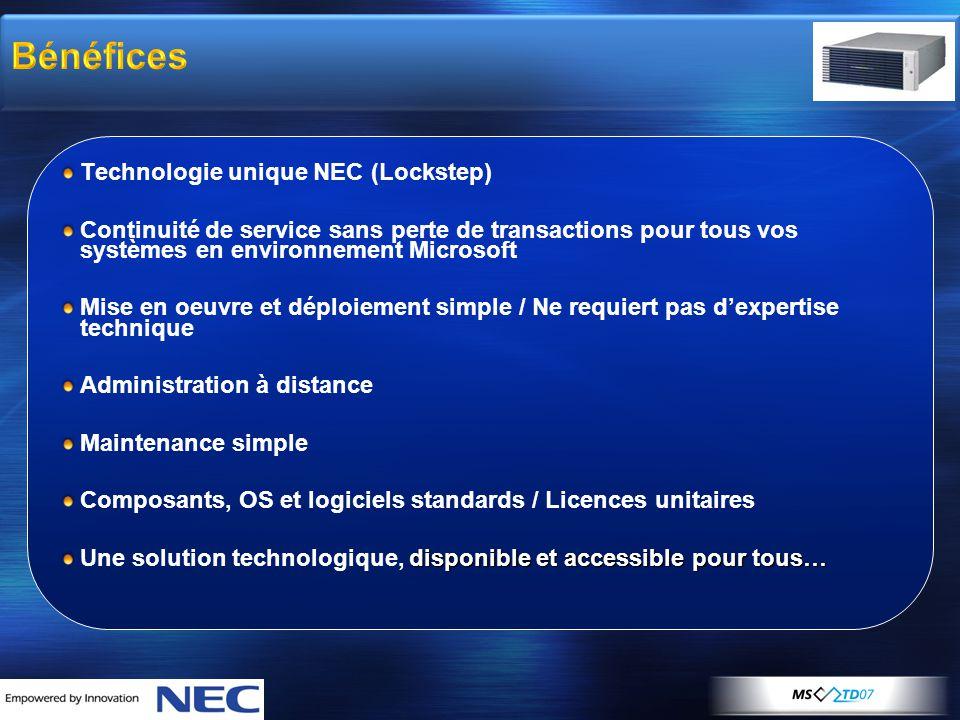 Bénéfices Technologie unique NEC (Lockstep) Continuité de service sans perte de transactions pour tous vos systèmes en environnement Microsoft Mise en