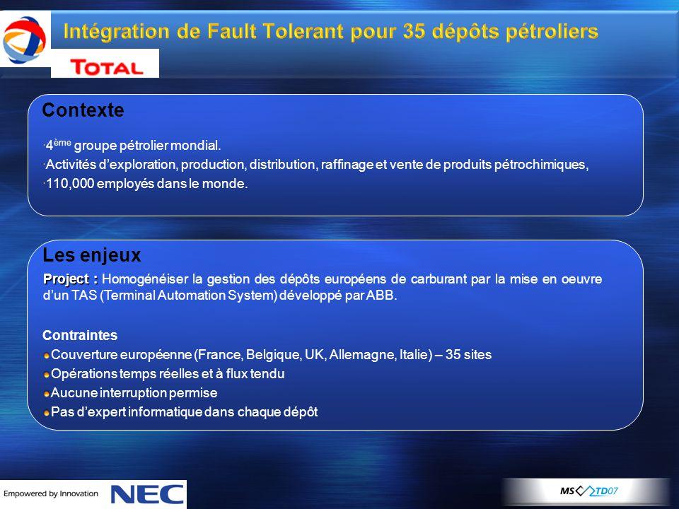 Intégration de Fault Tolerant pour 35 dépôts pétroliers Contexte  4 ème groupe pétrolier mondial.  Activités d'exploration, production, distribution