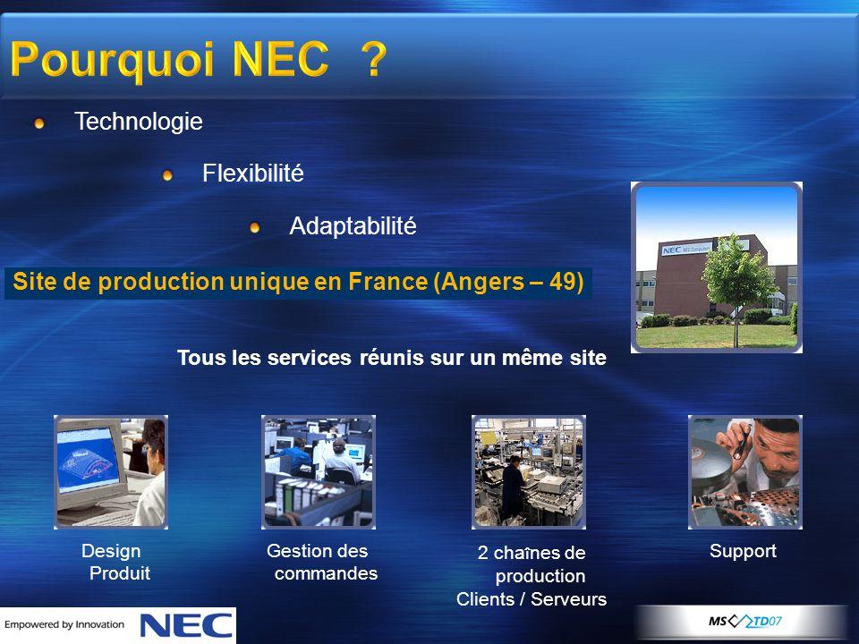 Pourquoi NEC ? Technologie Flexibilité Adaptabilité Site de production unique en France (Angers – 49) Tous les services réunis sur un même site Design
