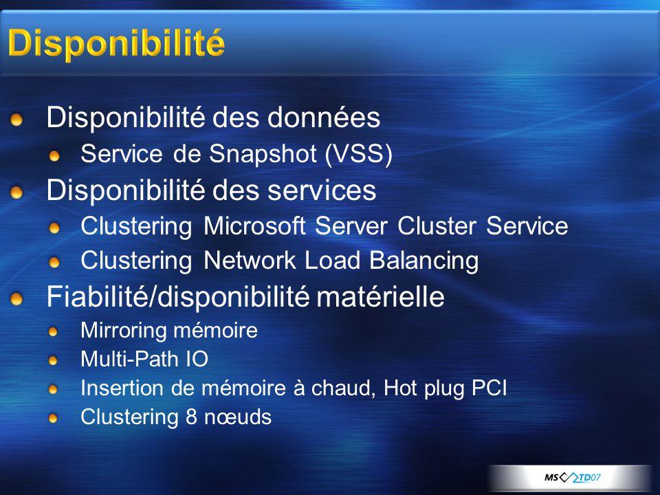 Disponibilité Disponibilité des données Service de Snapshot (VSS) Disponibilité des services Clustering Microsoft Server Cluster Service Clustering Network Load Balancing Fiabilité/disponibilité matérielle Mirroring mémoire Multi-Path IO Insertion de mémoire à chaud, Hot plug PCI Clustering 8 nœuds