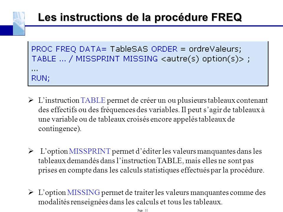 Page : 35 Les instructions de la procédure FREQ  L'instruction TABLE permet de créer un ou plusieurs tableaux contenant des effectifs ou des fréquenc