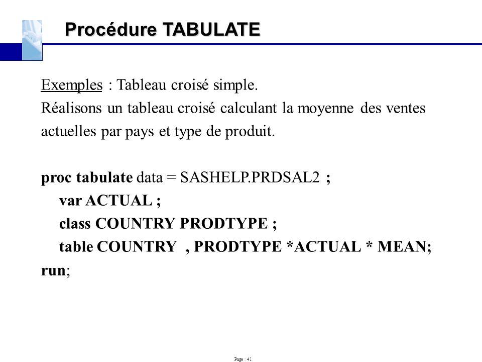 Page : 41 Procédure TABULATE Exemples : Tableau croisé simple. Réalisons un tableau croisé calculant la moyenne des ventes actuelles par pays et type