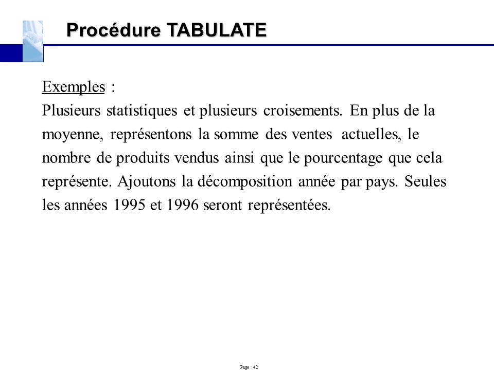 Page : 42 Procédure TABULATE Exemples : Plusieurs statistiques et plusieurs croisements. En plus de la moyenne, représentons la somme des ventes actue