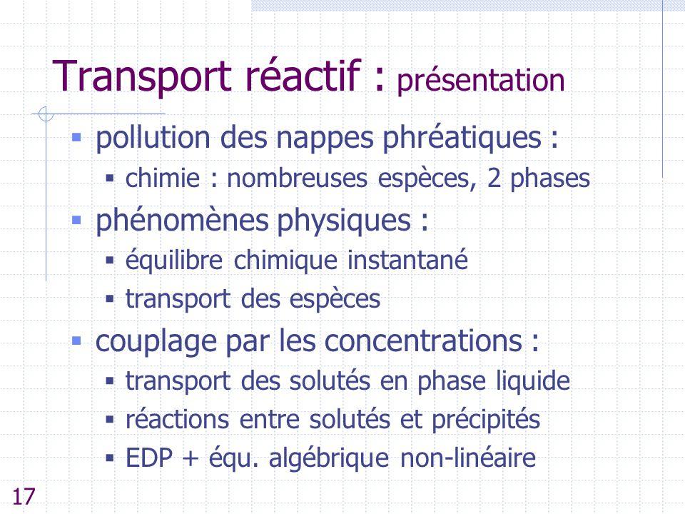 Transport réactif : présentation  pollution des nappes phréatiques :  chimie : nombreuses espèces, 2 phases  phénomènes physiques :  équilibre chi