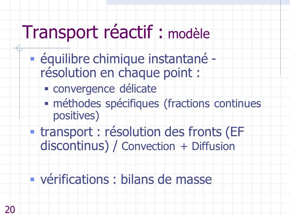 Transport réactif : modèle  équilibre chimique instantané - résolution en chaque point :  convergence délicate  méthodes spécifiques (fractions con