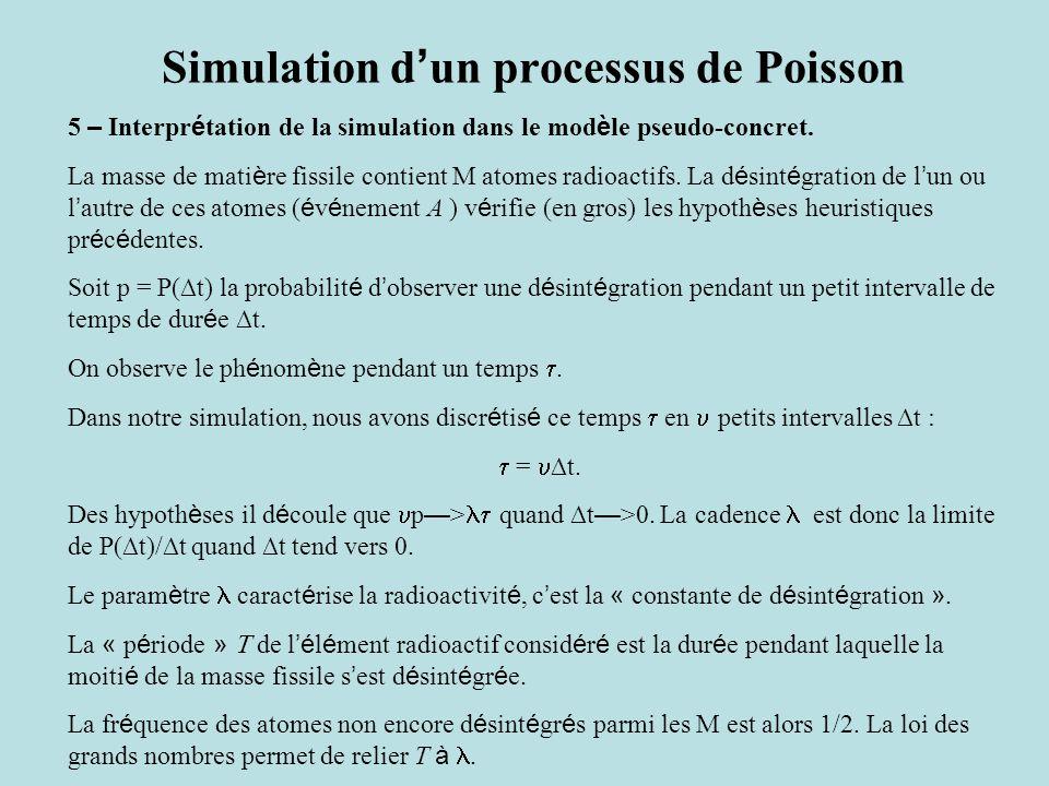 Simulation d ' un processus de Poisson 5 – Interpr é tation de la simulation dans le mod è le pseudo-concret. La masse de mati è re fissile contient M