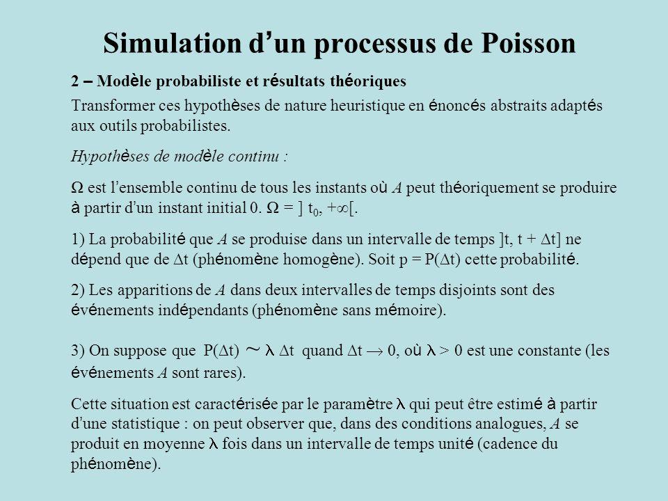 Simulation d ' un processus de Poisson 2 – Mod è le probabiliste et r é sultats th é oriques Transformer ces hypoth è ses de nature heuristique en é nonc é s abstraits adapt é s aux outils probabilistes.