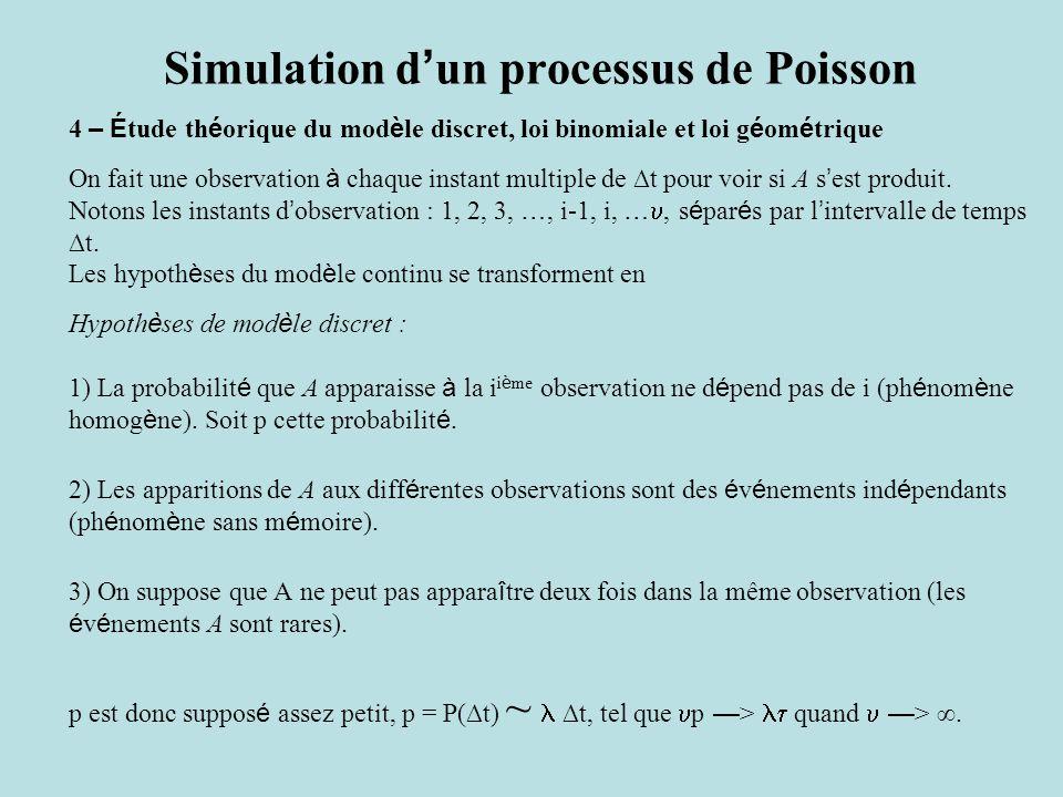 Simulation d ' un processus de Poisson 4 – É tude th é orique du mod è le discret, loi binomiale et loi g é om é trique On fait une observation à chaque instant multiple de ∆t pour voir si A s ' est produit.