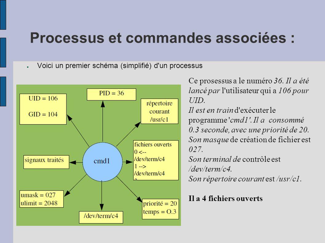 Processus et commandes associées : ● Voici un premier schéma (simplifié) d'un processus Ce prosessus a le numéro 36. Il a été lancé par l'utilisateur