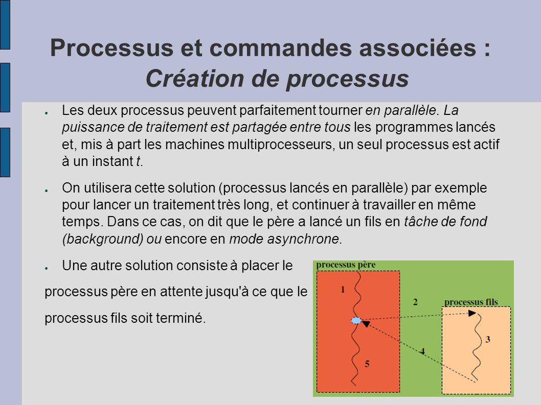 Processus et commandes associées : Création de processus ● Les deux processus peuvent parfaitement tourner en parallèle. La puissance de traitement es