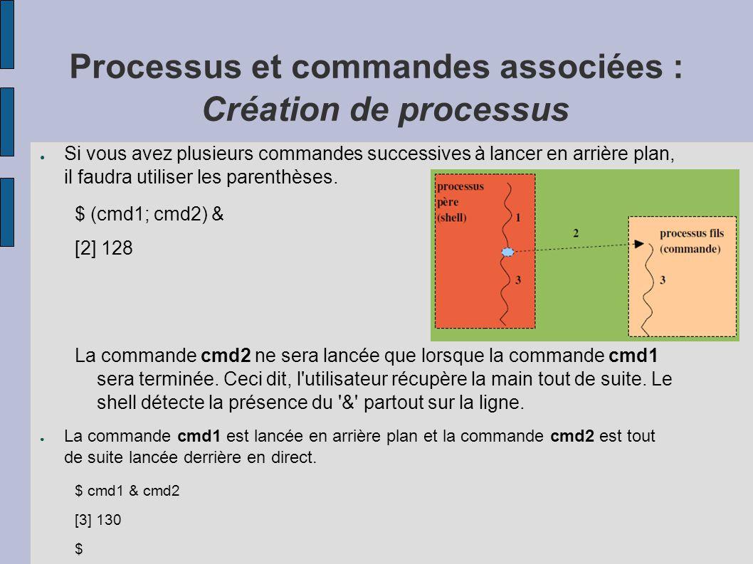 Processus et commandes associées : Création de processus ● Si vous avez plusieurs commandes successives à lancer en arrière plan, il faudra utiliser l