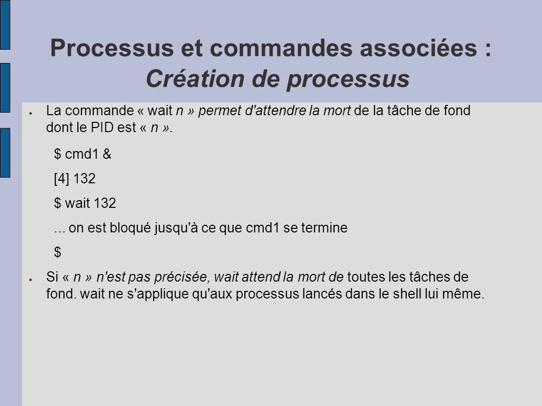 Processus et commandes associées : Création de processus ● La commande « wait n » permet d'attendre la mort de la tâche de fond dont le PID est « n ».