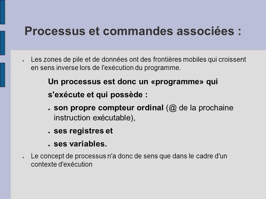 Processus et commandes associées : Arborescence de processus ● Pour visualiser les processus que vous avez lancé, ● tapez la commande «ps» : $ ps PID TTY TIME COMMAND 527 ttyp4 1:70 ksh 536 ttyp4 0:30 cmd1 559 ttyp4 0:00 ps $ ● PID identifie le processus, ● TTY est le numéro du terminal associé, ● TIME est le temps cumulé d exécution du processus, ● COMMAND est le nom du fichier correspondant au programme exécuté par le processus.