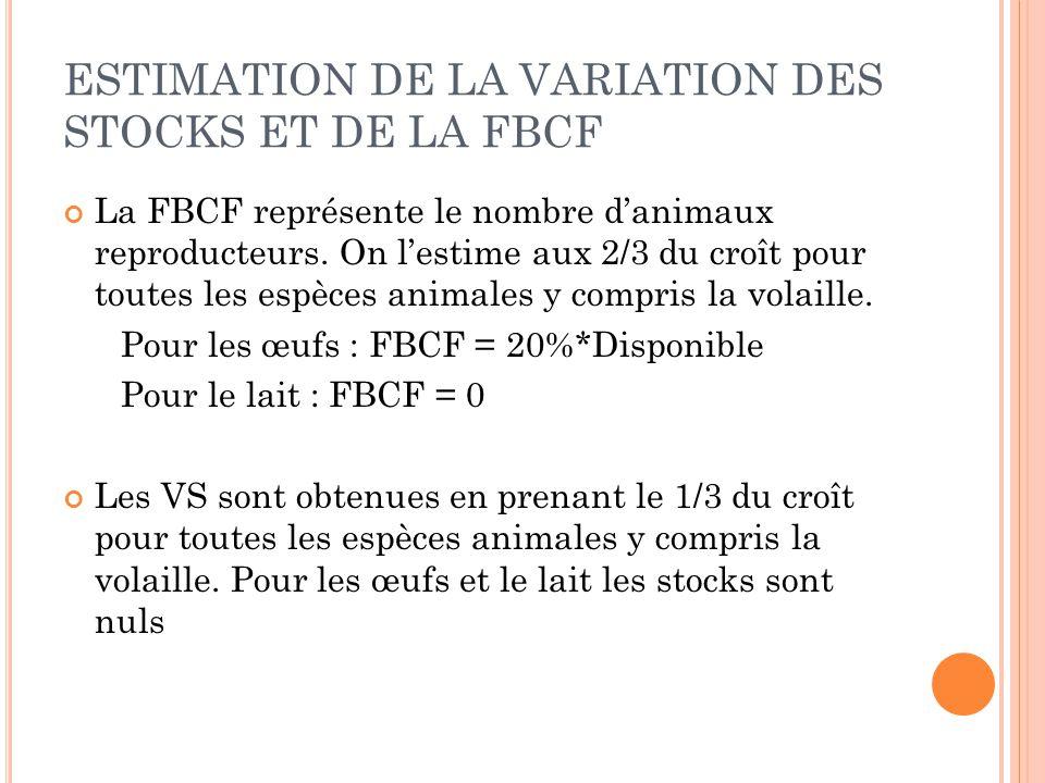 ESTIMATION DE LA VARIATION DES STOCKS ET DE LA FBCF La FBCF représente le nombre d'animaux reproducteurs. On l'estime aux 2/3 du croît pour toutes les