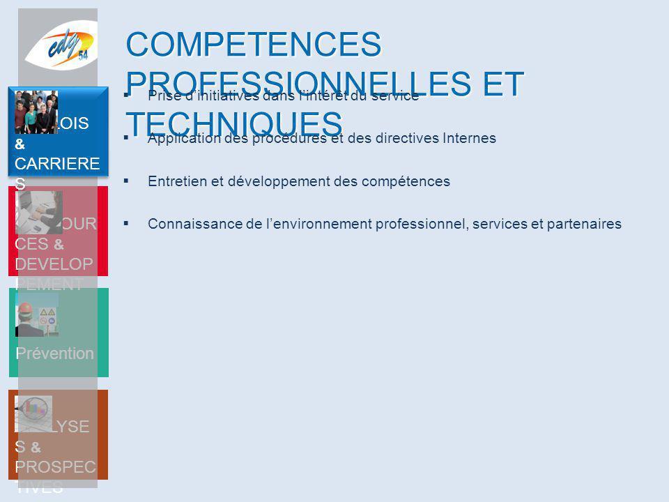ANALYSE S & PROSPEC TIVES Prévention RESSOUR CES & DEVELOP PEMENT EMPLOIS & CARRIERE S COMPETENCES PROFESSIONNELLES ET TECHNIQUES  Prise d'initiative