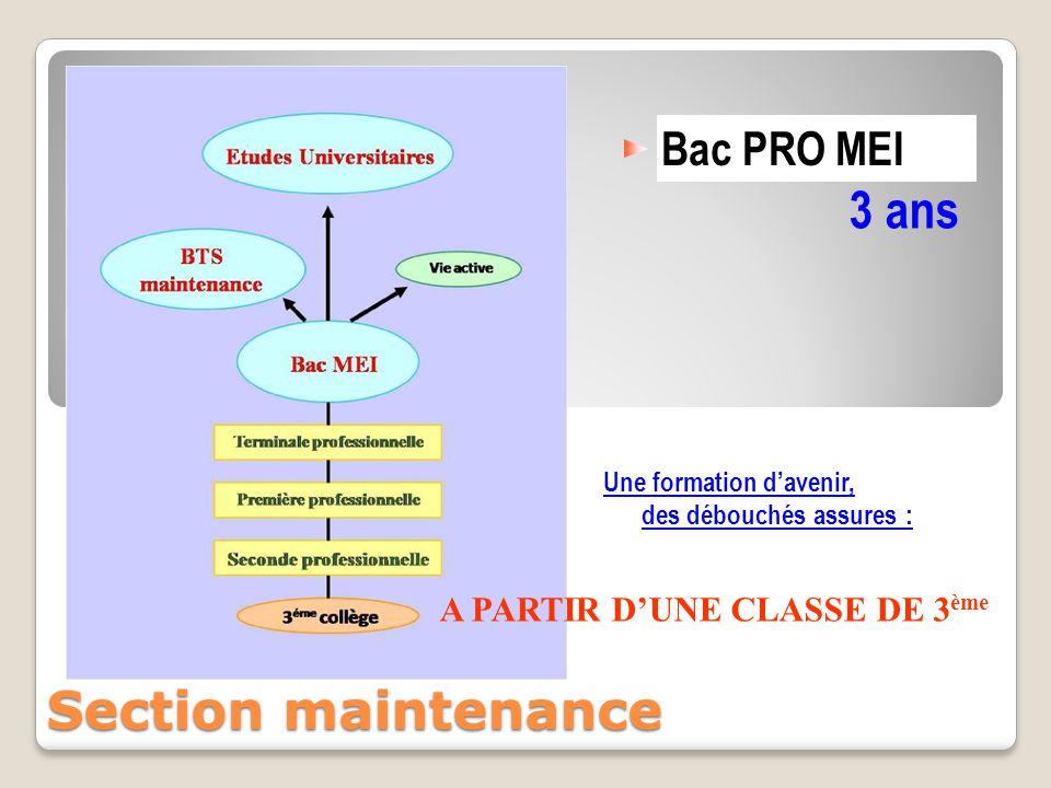 Bac PRO MEI 3 ans Une formation d'avenir, des débouchés assures : Section maintenance A PARTIR D'UNE CLASSE DE 3 ème