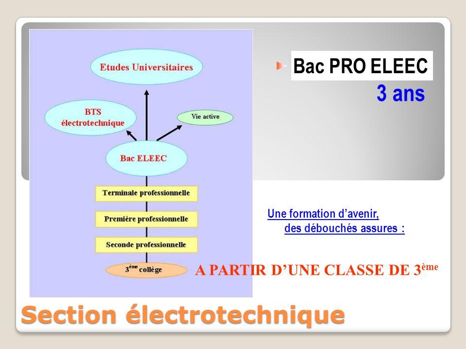 Bac PRO ELEEC 3 ans Une formation d'avenir, des débouchés assures : Section électrotechnique A PARTIR D'UNE CLASSE DE 3 ème