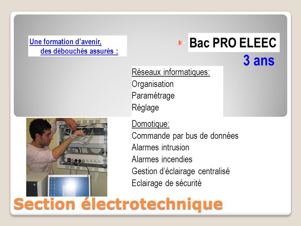 Bac PRO ELEEC 3 ans Section électrotechnique Domotique: Commande par bus de données Alarmes intrusion Alarmes incendies Gestion d'éclairage centralisé