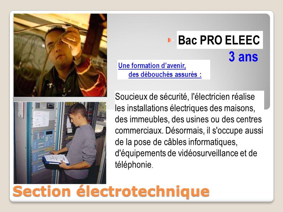 Bac PRO ELEEC 3 ans Section électrotechnique Une formation d'avenir, des débouchés assurés : Soucieux de sécurité, l'électricien réalise les installat